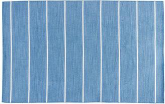 One Kings Lane Stripe Flat-Weave Rug - Denim/White - 5'x8'