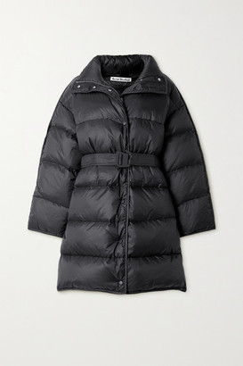 Acne Studios Oversized Hooded Belted Quilted Shell Down Coat - Black