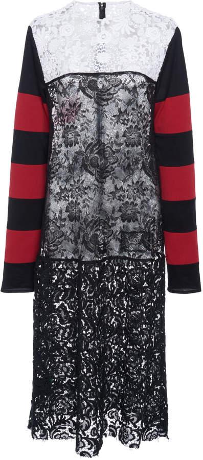 Prada Paneled Striped Cotton-Blend Jersey And Lace Dress