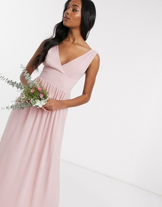 TFNC Bridesmaid top wrap chiffon dress in pink