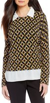 Investments Long Sleeve Layered Chain Print Top
