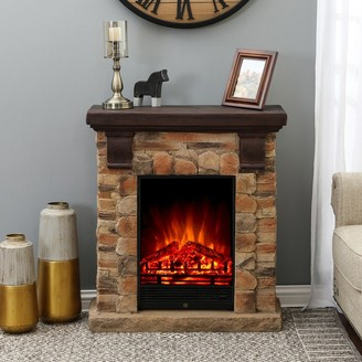 Winsome House Polystone Brick Free Standing Electric Fireplace Heater Mantel with Remote