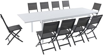 """Hanover Del Mar 11-Piece Outdoor Dining Set with 10 Folding Sling Chairs in Gray and a White 40"""" x 118"""" Expandable Dining Table"""