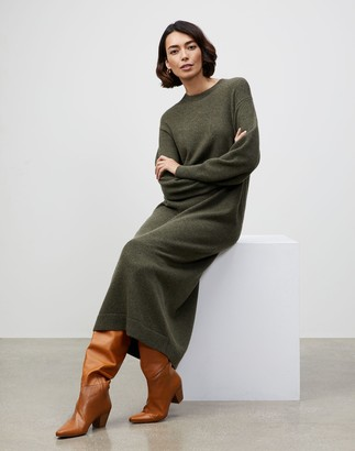 Lafayette 148 New York KindCashmere Blouson Sleeve Belted Sweater Dress