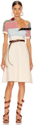 Y/Project Asymmetric Collar Polo Dress in Beige Stripe   FWRD