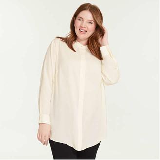 Joe Fresh Women's Mandarin Collar Tunic, Cream (Size 1X)