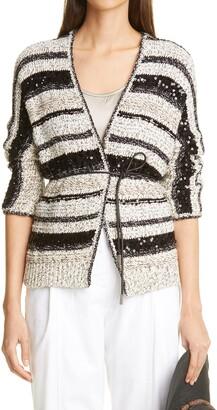 Brunello Cucinelli Stripe Sequin Cotton Cardigan
