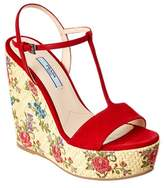 Prada 130 Floral Woven Suede Wedge Sandal.