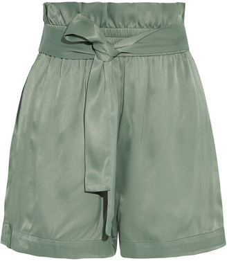 3.1 Phillip Lim Belted Ruffle-trimmed Satin Shorts