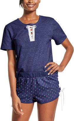 U.S. Polo Assn. Women's Sleep Bottoms navy - Navy Pin Dot Tie-Accent Pajama Set - Women