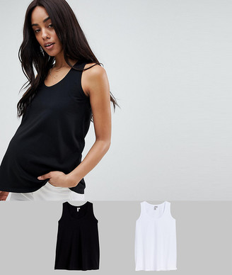 ASOS DESIGN Maternity longline fitted tank 2 pack SAVE