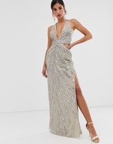 Asos Design DESIGN maxi dress with cut outs in heavy embellishment