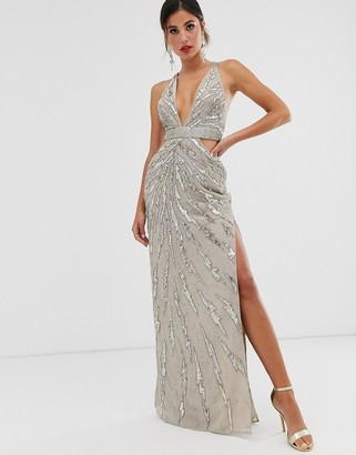ASOS Design DESIGN maxi dress with cut outs in heavy embellishment-Beige