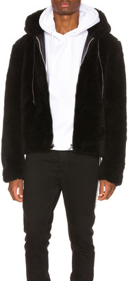 Keiser Clark Faux Fur Long Hair Wool Hoodie in Black | FWRD