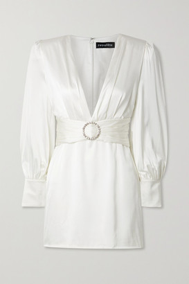 retrofete Nicole Crystal-embellished Stretch-silk Satin Mini Dress