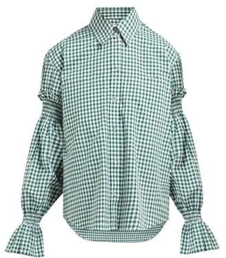 Burberry Puff-sleeve Oversized Gingham Cotton Shirt - Womens - Green White
