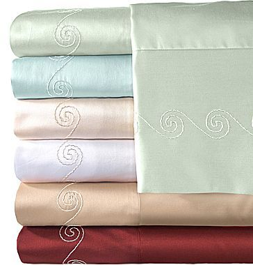 Veratex 500tc Egyptian Cotton Sateen Embroidered Swirl Sheet Set