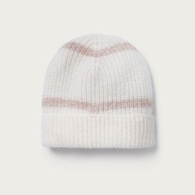 The White Company Stripe Lurex Beanie Hat, Pink, One Size
