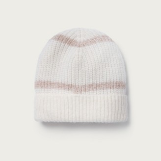The White Company Stripe Lurex Beanie Hat, Pink, One Size