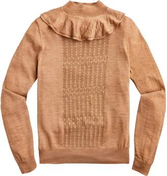 J.Crew Ruffle Mock Neck Pointelle Sweater