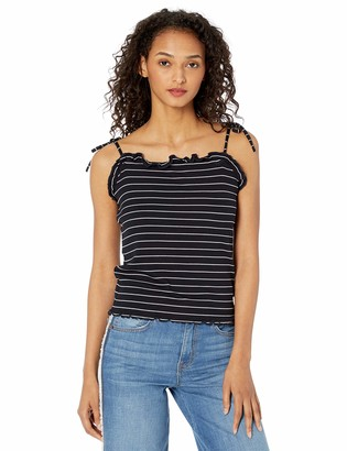 Cupcakes And Cashmere Women's Magna Stripe Rib with tie Strap Ruffle cami