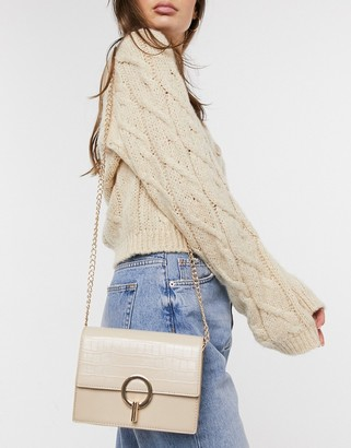 French Connection croc crossbody bag with clasp in stone