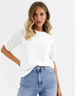 Asos DESIGN t-shirt with dobby ruched sleeve