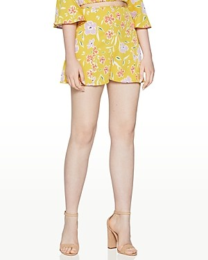 BCBGeneration Floral Print High-Waist Shorts
