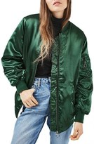 Topshop Women's Longline Satin Bomber Jacket