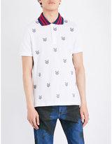 Gucci Tiger-print stretch-cotton-piqué polo shirt