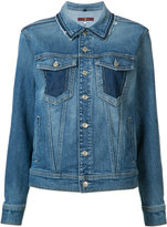 7 For All Mankind raw edge collar denim jacket - women - Cotton/Spandex/Elastane - XS