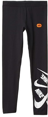 Nike Kids NSW Favorites Leggings Marker (Little Kids/Big Kids) (Black/White) Girl's Casual Pants