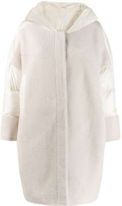 Liska panelled shearling and shell coat