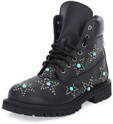 Leather Studded Combat Boots - ShopStyle