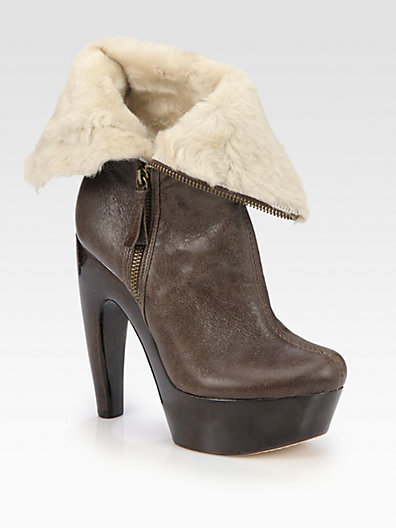 Alice + Olivia Leather and Shearling Foldover Ankle Boots