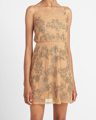 Express Sequin Embellished Cowl Neck Mini Dress
