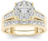 MODERN BRIDE 1 CT. T.W. Diamond 10K Yellow Gold Bridal Ring Set