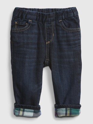 Gap Baby Pull-On Plaid Lined Straight Jeans