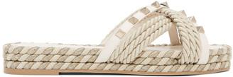 Valentino White and Beige Garavani Cord Rockstud Flat Sandals