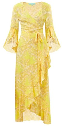 Melissa Odabash Cheryl Ruffled Leaf-print Maxi Wrap Dress - Yellow Print