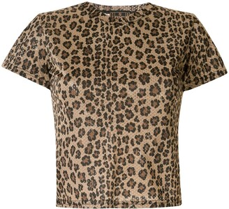 Fendi Pre Owned leopard print mesh T-shirt