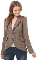 Dollhouse Jacket, V Neck Long Sleeve Plaid Faux Leather Button Fitted Blazer