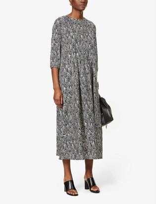S Max Mara Niagara graphic-print silk-satin midi dress