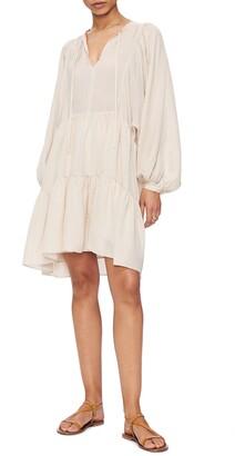 Anine Bing Madison Long Sleeve Silk Blend Dress