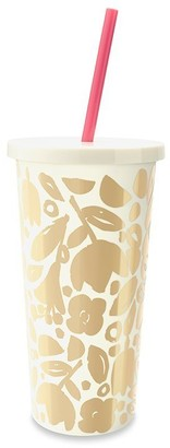 Kate Spade Tumbler with Straw - Golden Floral, 20 OZ