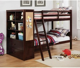 Moraine Twin over Twin Bunk Bed with Drawers and Bookcase Harriet Bee Bed Frame Color: Dark Walnut