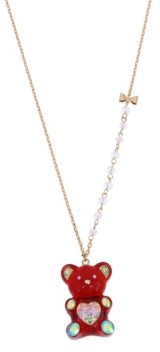 "Betsey Johnson Festive Gummy Bead Pendant Long Necklace, 28"" + 3"" extender"