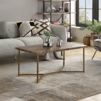 Latitude Run Ayodeji Cross Legs Coffee Table Table Base Color: Golden, Table Top Color: Distressed Wood