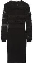Oscar de la Renta Ruffle And Fringe-trimmed Silk-blend Dress - Black