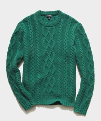 Todd Snyder Cable Fisherman's Sweater in Kelly Green